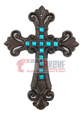 Wall Cross Decor (Teal Turquoise Fleur De Lis Cast Iron Decorative Wall Cross Rustic Brown)