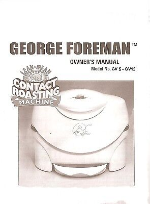 George Foreman GV5 - GV12  Contact  Roaster Manuals on cd  for sale  Nampa