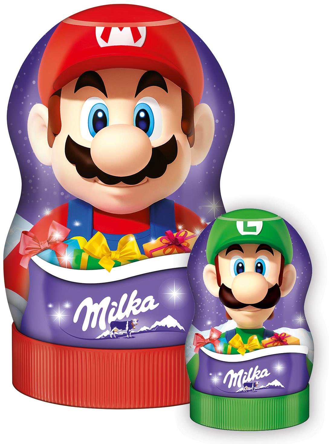 (100g=5,54€) Milka Super Mario Geschenk Figur mit Schokolade & Stickern - 81g