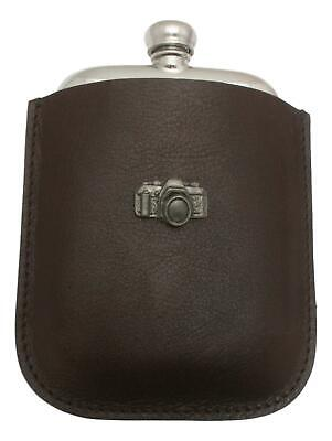 Camera Pewter 4oz Kidney Hip Flask Leather Pouch FREE ENGRAVING 55