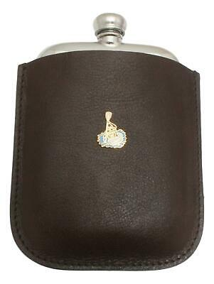 Canoer Pewter 4oz Kidney Hip Flask In Leather Pouch FREE ENGRAVING 61
