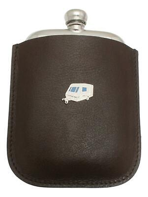 Caravan Pewter 4oz Kidney Hip Flask In Leather Pouch FREE ENGRAVING 65