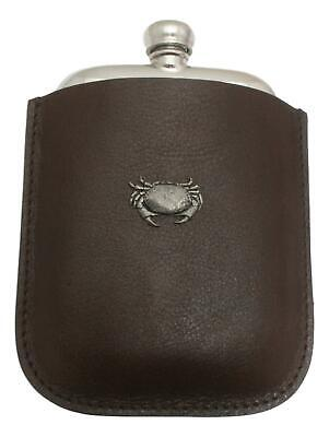 Cancer The Crab Pewter 4oz Kidney Hip Flask In Leather Pouch FREE ENGRAVING 59