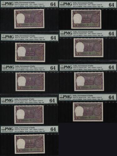 TT PK 77j 1972 INDIA 1 RUPEE 9 NOTE SET RADAR SERIAL #s  PMG 64 CHOICE UNC