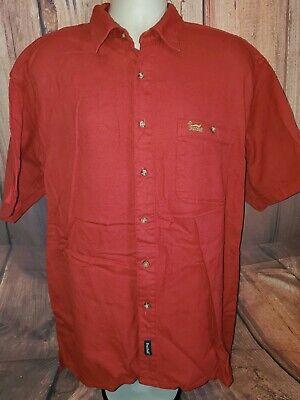 69bdbabecf5ad Original DUXBAK Men's Large Red Button Front Short Sleeve Shirt Hunting  Outdoor