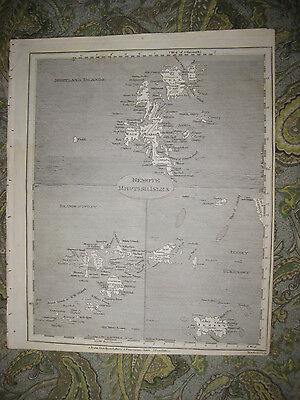 ANTIQUE 1805 SHETLAND SCILLY JERSEY GUERNSEY ISLANDS BRITISH ISLES MAP SUPERB NR image