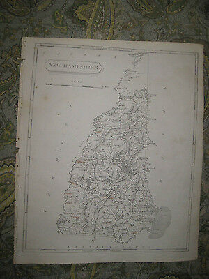 EARLY ANTIQUE 1805 NEW HAMPSHIRE ARROWSMITH AND LEWIS COPPERPLATE MAP FINE COND.