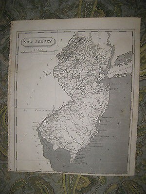 RARE ANTIQUE 1805 NEW JERSEY ARROWSMITH AND LEWIS COPPERPLATE MAP PRINCETON FINE