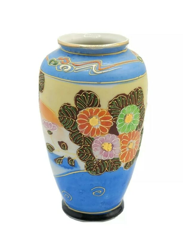 VINTAGE MORIAGE SATSUMA JAPAN FLOWERS HAND PAINTED BLUE VASE