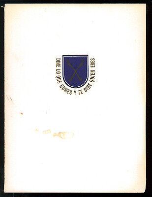 HOTEL TAMANACO INTERCONTINENTAL MENU' CLUB DE GASTRONOMOS 1957 CARACAS VENEZUELA