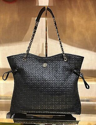 Tory Burch Tote Bryant Quilted Slouchy Leather Black $635 NWT