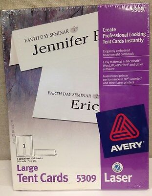 Avery 5309 White Laser Tent Cards 3-12 X 11