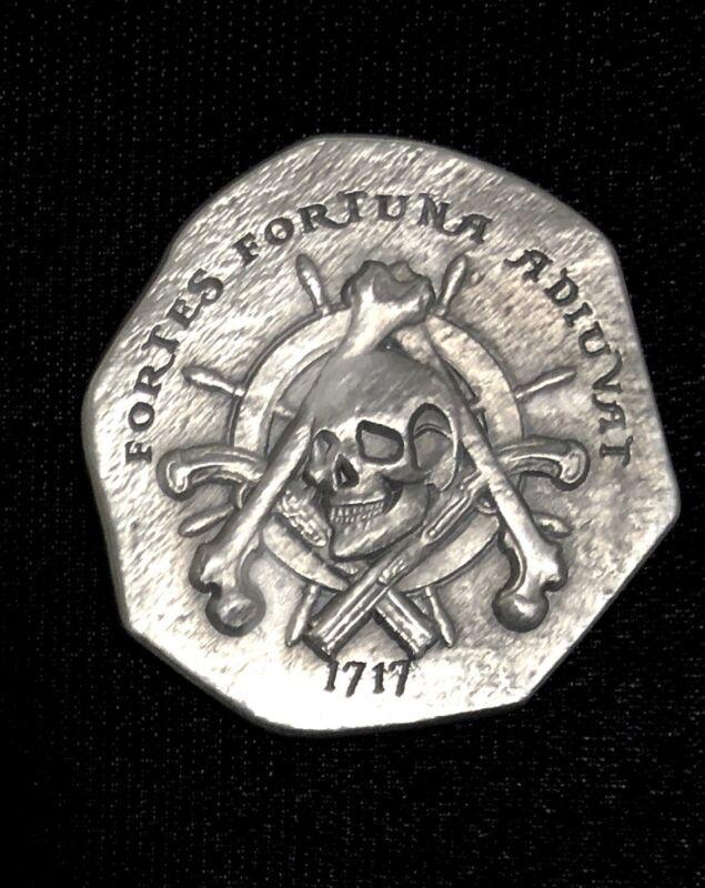 Treasure Cob Style Pirate Challenge Coin With Freemason Masonic Symbols Silver