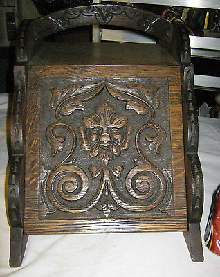 ANTIQUE MISSION CARVED NORTHWIND WOOD ART SCULPLTURE COAL POD FIRE BOX STOVE TIN