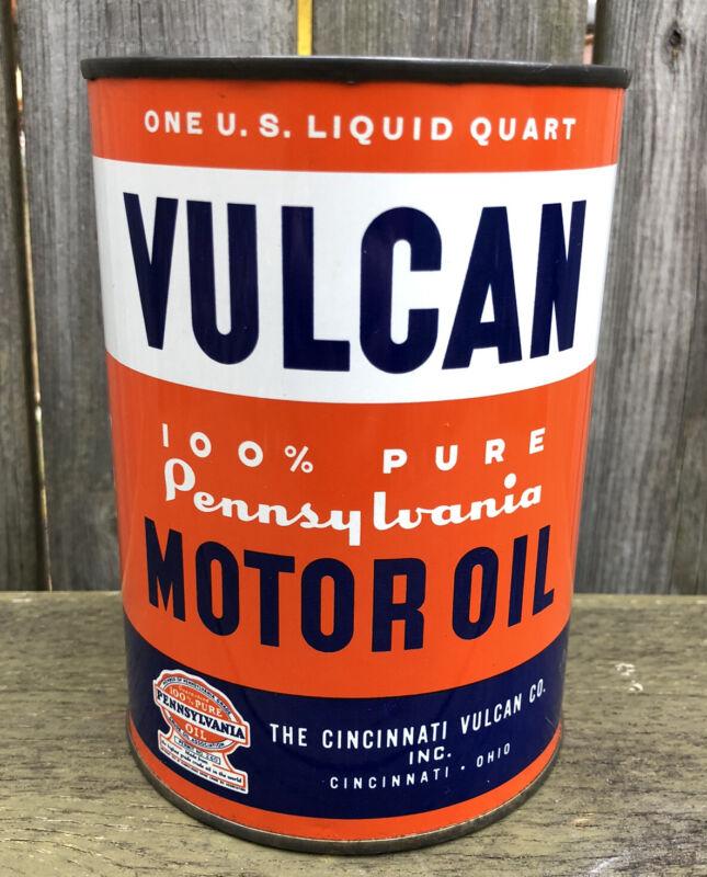 Vtg Vulcan 100% Pennsylvania Motor Oil 1 Quart Oil Can Tin Cincinnati Ohio Rare