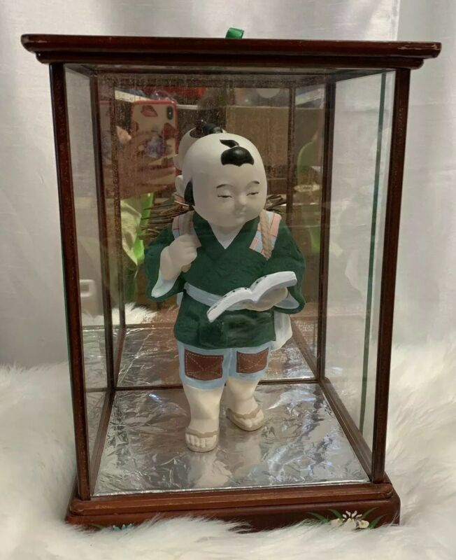 Japanese Boy Kimono Jinbei Fire Sticks Book Display In Glass Case Vintage