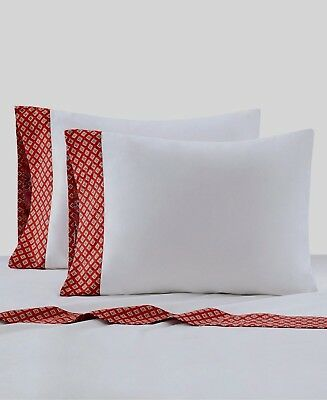 Echo Design Aberdeen 230TC Cotton White/Madder Red Sheet Set . Multi-Size