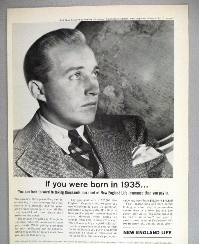 New England Life Insurance PRINT AD - 1964 ~~ Bing Crosby