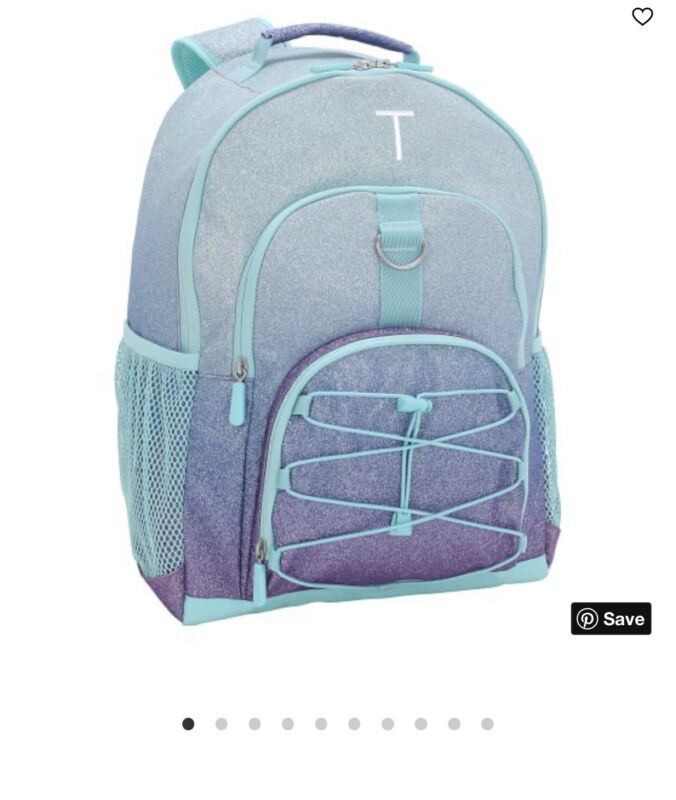 Pottery Barn Teen Kids Gear-Up Purple/Pool Ombre Glitter Backpack Large