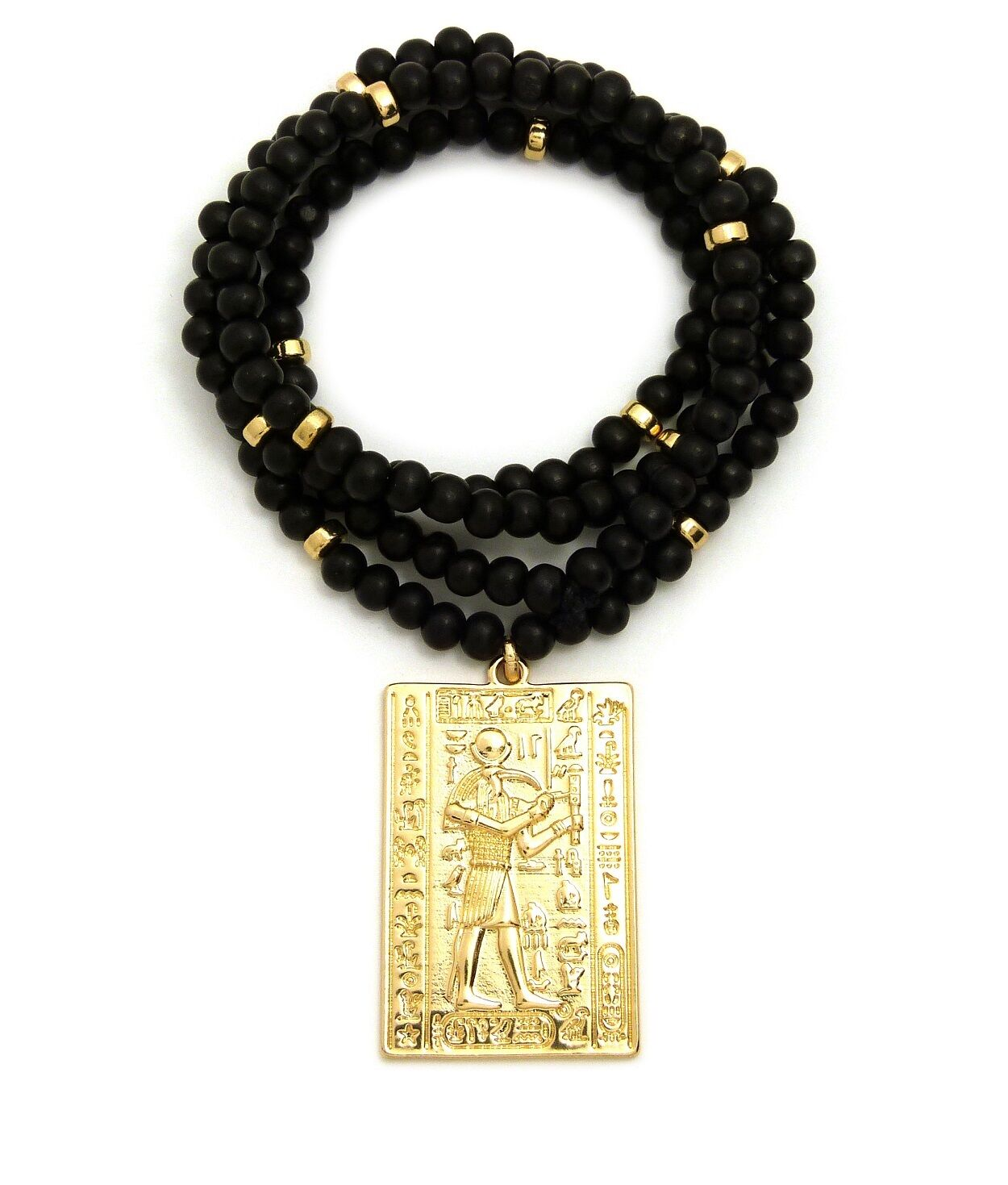 "Egyptian Ancient Hieroglyphic Alphabet Thoth Pendant 6mm 30"""