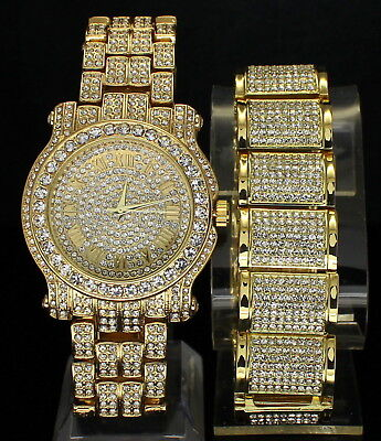 Iced Out Set 14k Gold Plated Hip Hop Dome Bracelet Rapper Watch Combo