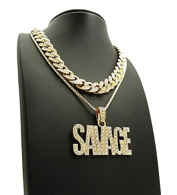 Ice box ebay 6 hip hop 18 iced out cuban choker chain savage pendant 24 box mozeypictures Gallery