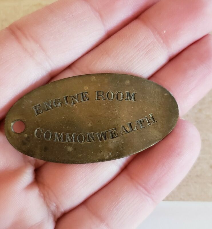 Brass Engine Room Commonwealth Plate Vintage Oval Small