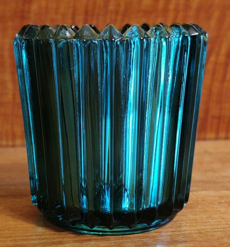 """2-1/2"""" emerald green fluted sawtooth glass votive candle cup toothpick holder"""