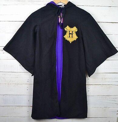 Youth HARRY POTTER  Sz M Black Purple Hooded Cape Costume Hogwarts Warner