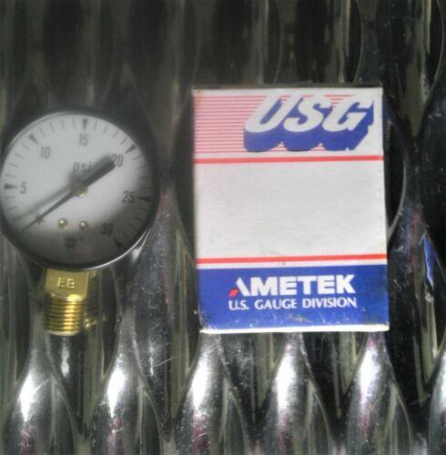 "Ametek US Gauge Division 163149 Pressure Gauge 2""Diameter 0-30PSI 1/4""(0.25)NPT"