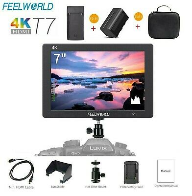 """FEELWORLD T7 7"""" IPS 4K HDMI Camera Field Monitor with Video Assist & Battery"""