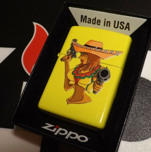 Zippo Pinup Girl  Hard to Find Sealed Org Box 2021 Yellow