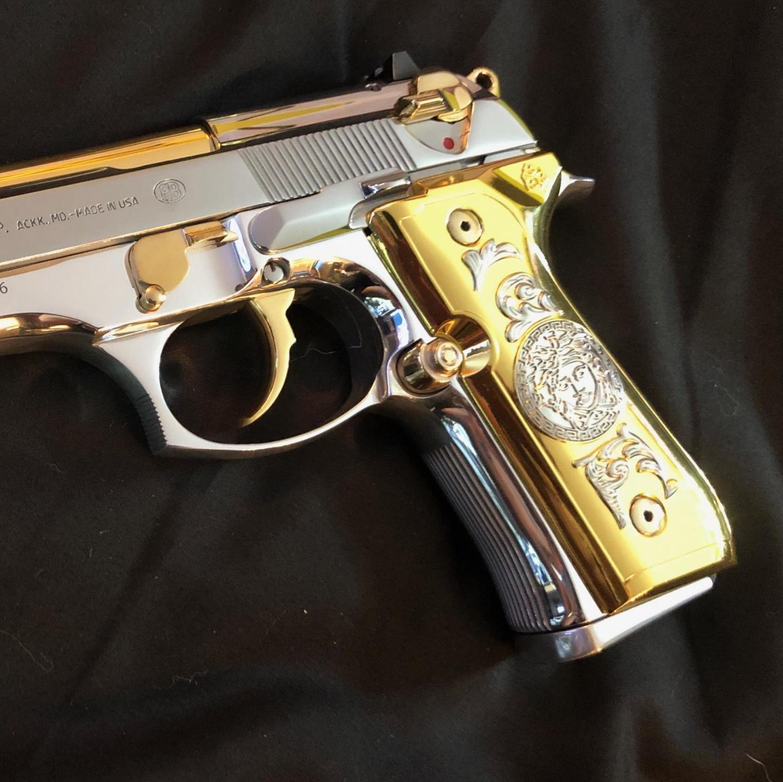 Custom Beretta Replacement Handgun Grips For 92 96 Fs Series Pistols Gold Us Polybull Com