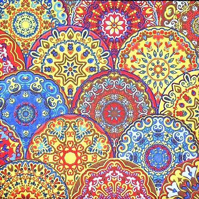 3x Single SMALL Paper Napkins Decoupage Craft Tissue Bright Round Ornaments S051