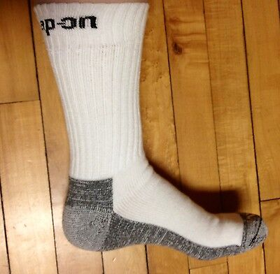 1 Pair Mens White Snap On Crew Socks XL ~ FREE Shipping ~ MADE IN USA     New!