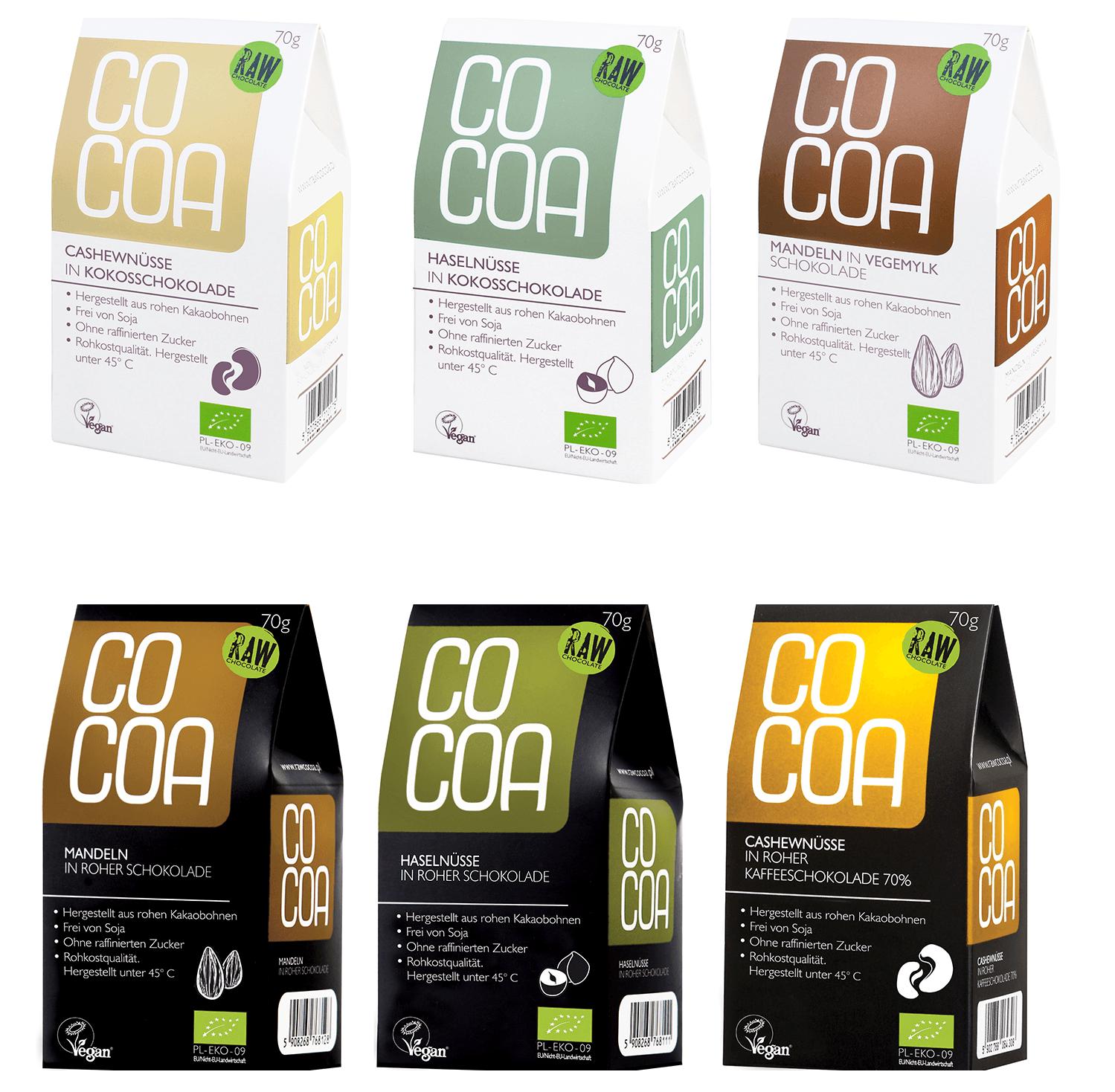 Raw Cocoa Bio Schokonüsse Alle Sorten in Roher Schokolade, je 1 x 70 g, Vegan