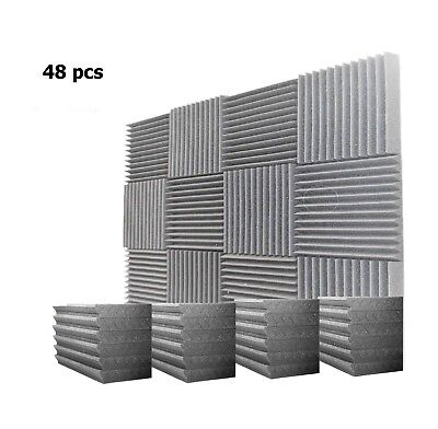48 Pack 1 X 12 X 12 Acoustic Foam Tiles Panel Wedge Studio Soundproofing Wall