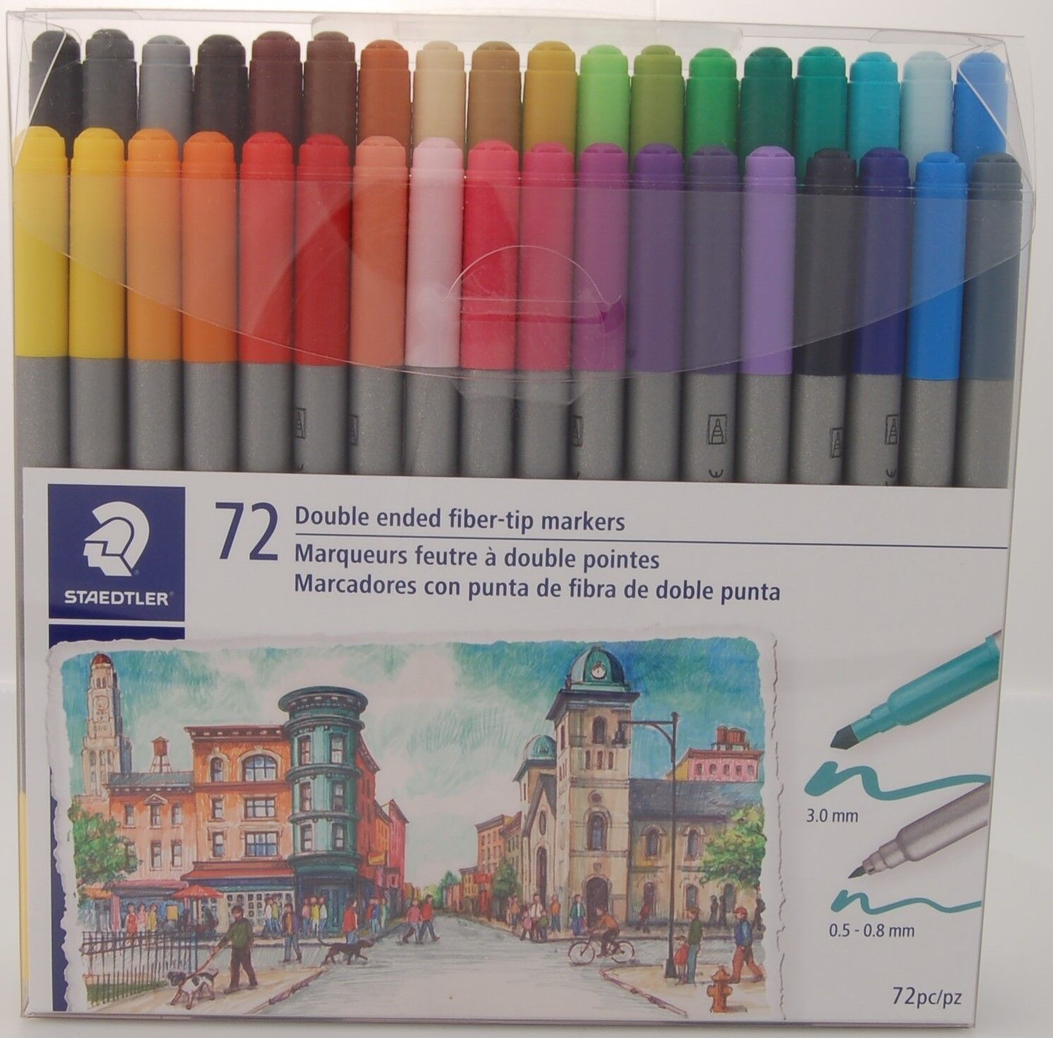 Staedtler Double Ended Fiber-tip Markers, For Sketching, Drawing, Illustrations, & Coloring, 72 Vibrant Colors, Washable, 320tb72 Lu