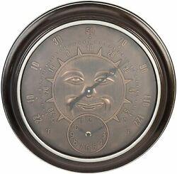 Country Living Bronze Effect Sun Garden Wall Clock & Thermometer 45.5cm