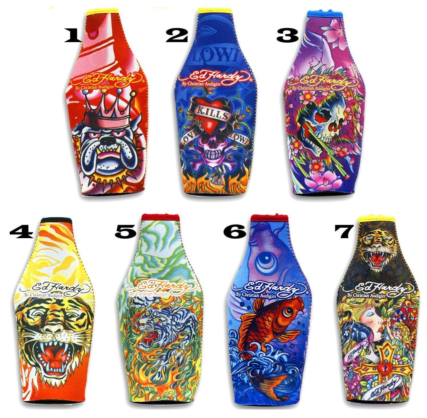 one Ed Hardy Tattoo Neoprene Bottle Cooler / Koozie with Zip