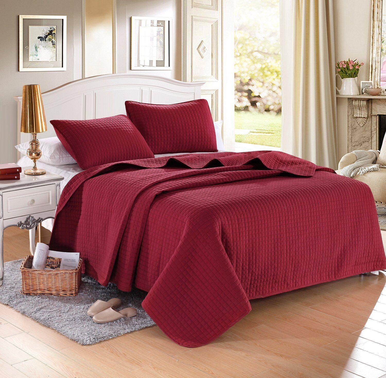 Burgundy Red Solid Color Hypoallergenic Quilt Coverlet Bedsp