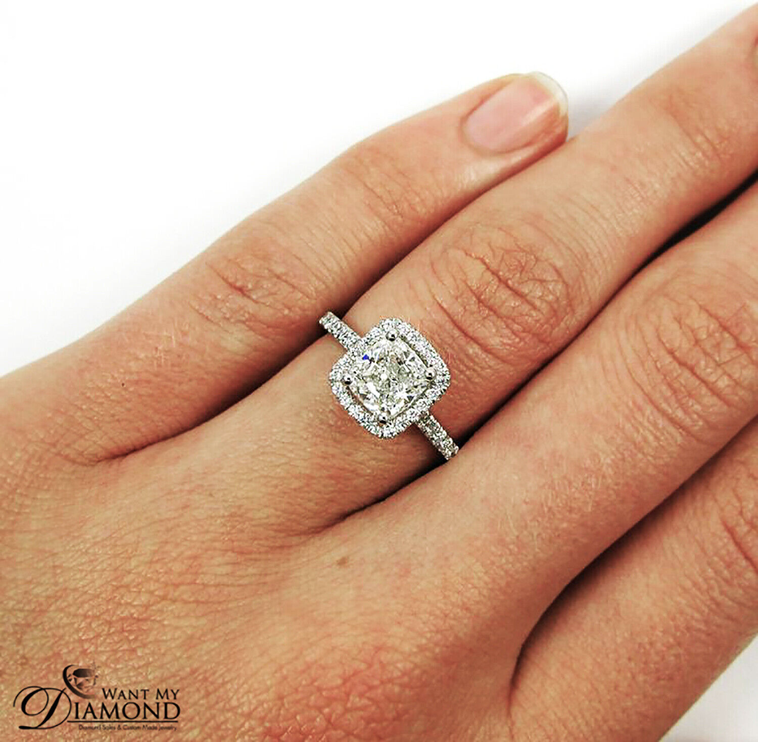 1.34ctw. Natural Cushion Classic Pave Diamond Engagement Ring - GIA Certified
