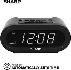 Sharp Electric Digital Alarm Clock for Kids w/ AccuSet Smart Automatic Time Set
