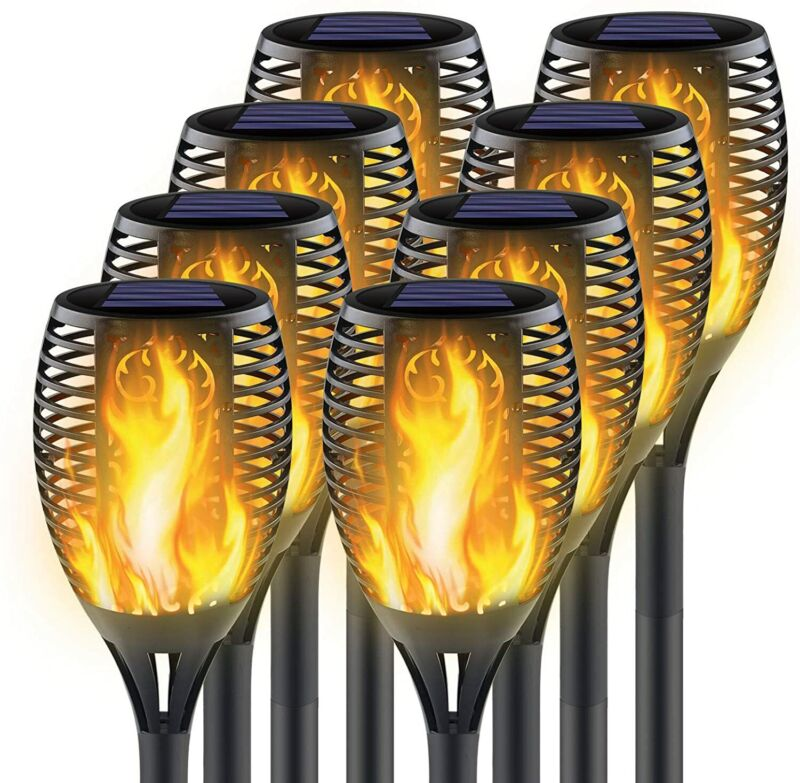 8PCS Solar Torch Flame Dancing Light LED Flickering Flame Lamp Outdoor Garden US