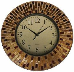 Lulu Decor, 16 Amber Rays Mosaic Wall Clock with 9.5 Glass Dial