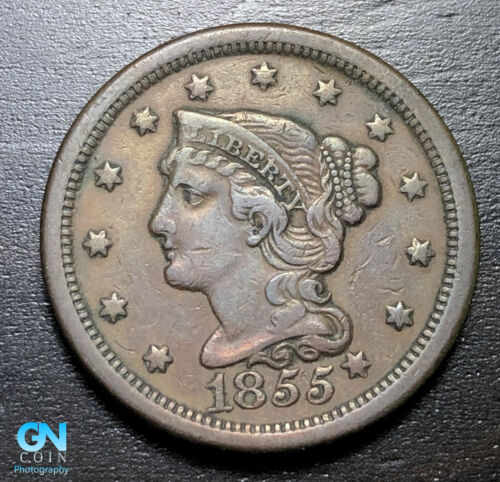 1855 Braided Hair Large Cent --  MAKE US AN OFFER!  #B3310