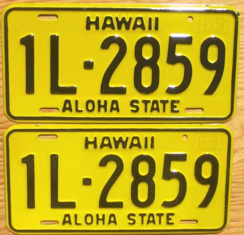 1969 Hawaii License Plate Number Tag PAIR Plates