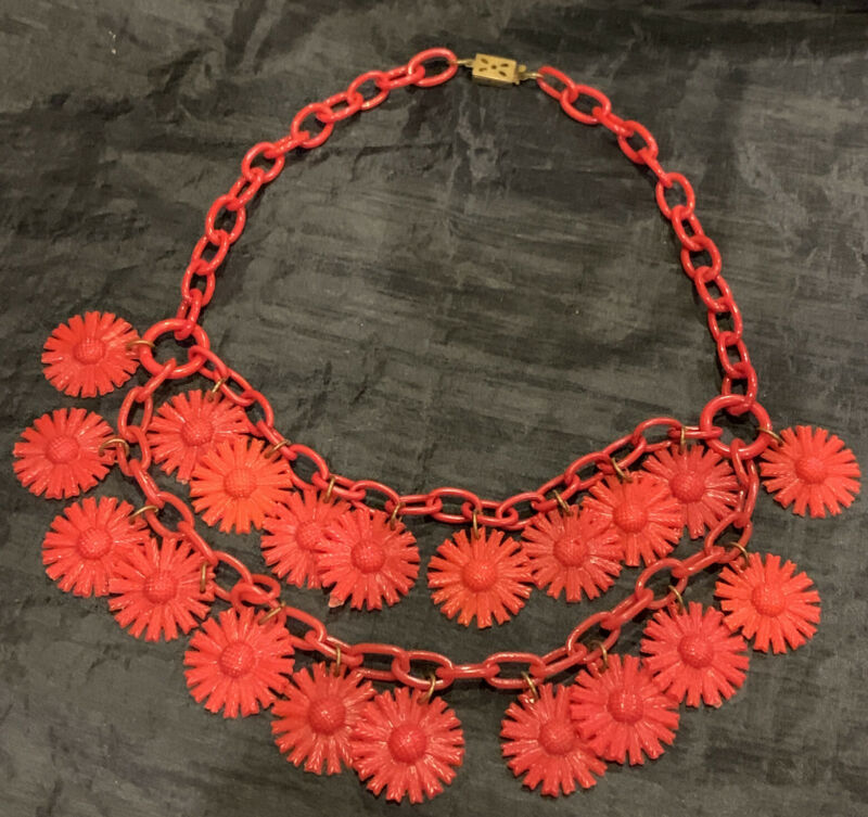 Fun Vintage 1930's-40's Red Art Deco Celluloid Molded Flower Choker Necklace