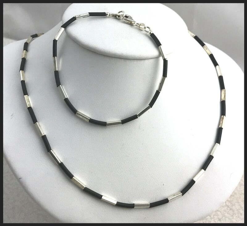VINTAGE .925 Sterling Silver & Leather, Narrow Bead Necklace & Bracelet Set