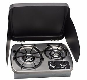 LP Gas Drop-In 2 Burner RV Cook top Stove Stainless Steel includes Cover